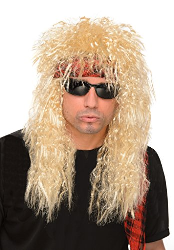Men's Blonde 80s Glam Rock Heavy Metal Wig - One Size Fits (Heavy Metal Costume)
