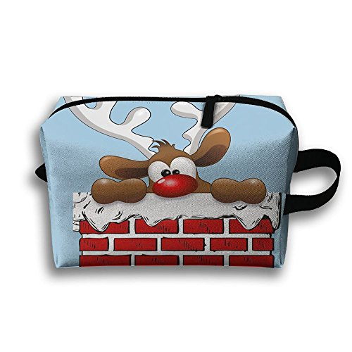 Reindeer Hold Wall Printed Travel Toiletry Bag Multifunction Portable Bag Cosmetic Bag For Home Office Camping Sport Gym Outdoor ()