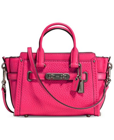 Coach Swagger Mini Dark Pink Amarenth Leather Handbag Bag - In Macys Downtown