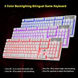 Gotd 3 Colors Crack Illuminated LED Backlight Bilingual USB Wired Multimedia PC Gaming Keyboard,For Win7 / 8 / Vista / XP / 2000, for OSX 10.2