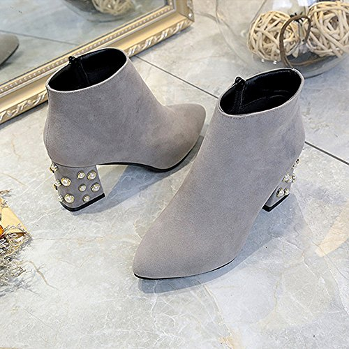 Shoes Ankle Snow Pointed Toe Heels Inkach Womens Gray Martin Casual High Side Boots Zipper Boots O5q5Z