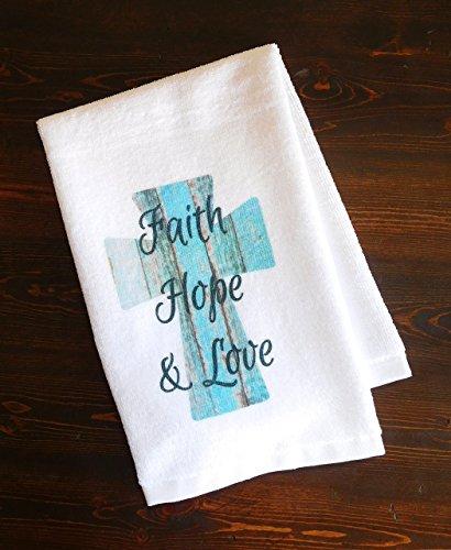 Bathroom Hand Towel - Faith, Hope, and Love Turquoise Cross