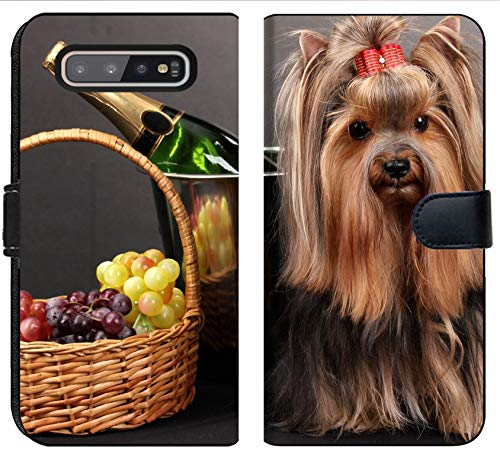 MSD Premium Designed S10 Plus Flip Fabric Wallet Case Image ID: 15153406 Beautiful Yorkshire Terrier on Colorful Background