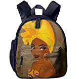 African America Woman Double Zipper Waterproof Children Schoolbag With Front Pockets For Teens Boy Girls
