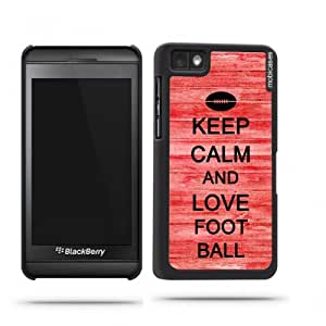 Keep Calm And Love Football Red Wood Blackberry Z10 Case - For Blackberry Z10