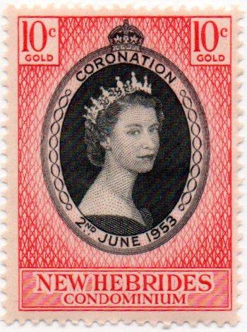 New Hebrides Postage Stamp Single 1953 Queen Elizabeth II Coronation Issue 10 Cent Scott #77