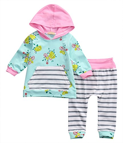 Baby Girl 2PCS Set Clothes Newborn Outfit Flower Print Hoodies with Pocket Top+Striped Long Pants 24 Months