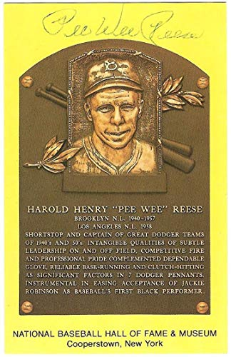 Pee Wee Reese Dodgers Autographed Signed Hall Of Fame Hof Plaque Postcard Auto JSA Authentic Memorabilia Sticker