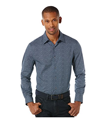 Perry Ellis Men's Micro Dot Pattern Shirt, Dark Sapphire, Large -