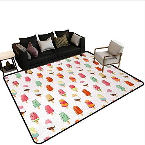 - Indoor Carpet Ice Cream,Watermelon Kiwi Orange Cherry and Chocolate Flavor Ice Cream Icon Illustration,Multicolor