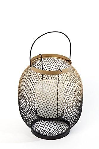 Heitmann DECO 7430metallo del vento luce con inserto in vetro, metallo, oro/nero, 15x 15x 18cm