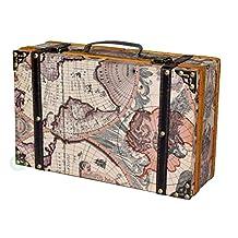 Vintiquewise Old World Map Suitcase/Decorative Box