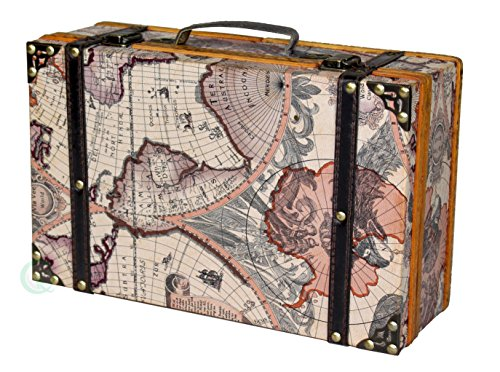 (Vintiquewise(TM) Old World Map Suitcase/Decorative)