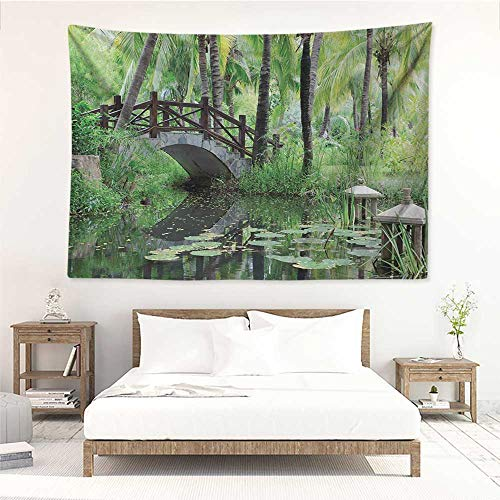 Zen Garden,Hippie Wall Hanging Green Landscape in South China Palm Trees and Bushes Lush Growth Nature 80W x 60L Inch Wall Tapestries Green Grey Brown