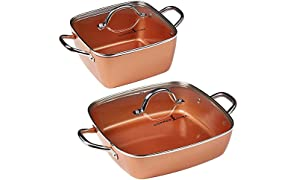 "Copper Chef 4-Piece Deep Casserole Pan Set (8"", 12"")"