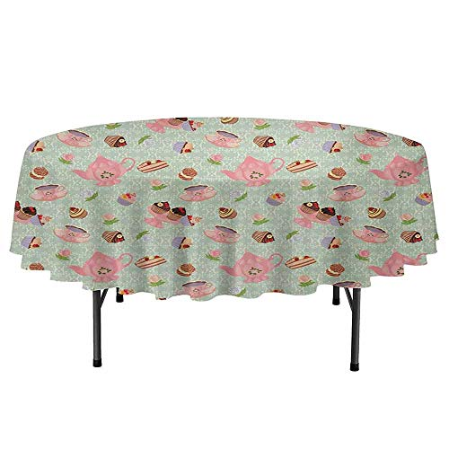 DouglasHill Retro Waterproof Anti-Wrinkle no Pollution Retro Style Tea Cups Royal Themed British Tea Time Inspired Image Abstract Backdrop Round Tablecloth D55 Inch Multicolor