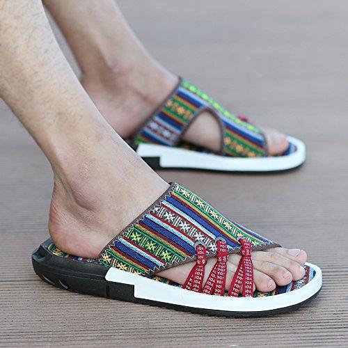 Xing Lin Sandalias De Hombre Zapatillas De Verano Hombre De Fondo Blando Traspasado Open Toe Color De Tendencias Lucha Británico Flip Flops Casual Calzado De Playa folk-custom