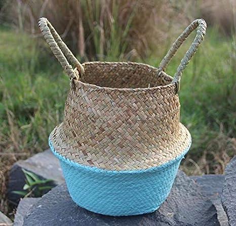 Amazon Com Zamtac Rattan Basket Straw Gardening Pots Basket Garden