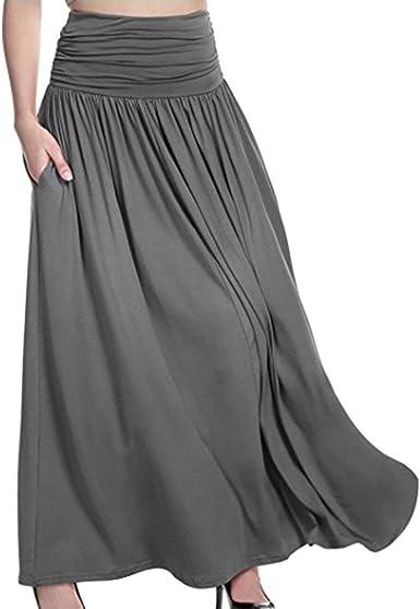 Vestidos De Mujer Falda Alta Líneas Cintura Elástica Larga De Ropa ...