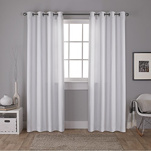 Exclusive Home Carling Basketweave Textured Woven Blackout Window Curtain Panel Pair with Grommet Top, Winter White, 52x96, 2 Piece Woven Basketweave