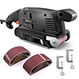 Tacklife Belt Sander, 3 in. x 18 in. Variable Speed Corded Heavy Duty - with Fixed Screw Clamp, Dust Box, Vacuum Adapter | PSFS1A