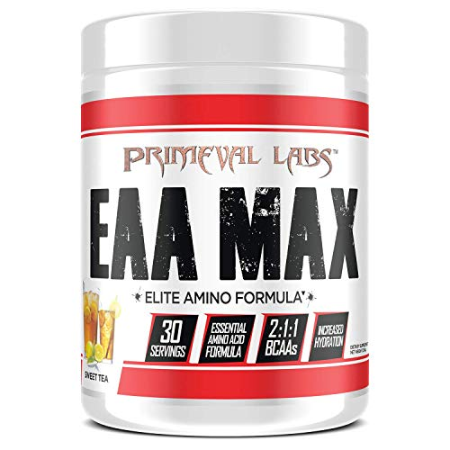 Primeval Labs EAA Max, Amino Acid Supplements, BCAAs, EAAs, Electrolytes, Enhances Performance, Supports Hydration, Improves Metabolism, Sweet Tea, 30 Servings