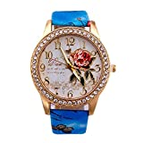 Fashion Clearance Watch! Noopvan Womens Flower Watches,Unique Analog Lady Watches Female Watches on Sale Casual Wrist Watches for Women,Round Dial Case Comfortable PU Leather Watch-H42 (Blue)