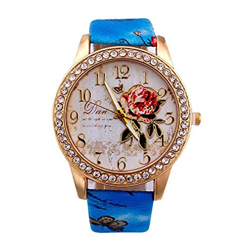 Fashion Clearance Watch! Noopvan Womens Flower Watches,Unique Analog Lady Watches Female Watches on Sale Casual Wrist Watches for Women,Round Dial Case Comfortable PU Leather Watch-H42 (Blue) by Noopvan Watch (Image #1)