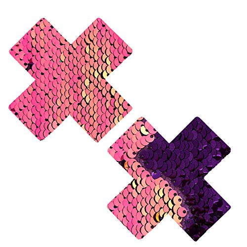 My Lil Pony Pink Iridescent Purple Flip Sequin X Factor Nipztix Pasties Nipple Covers -
