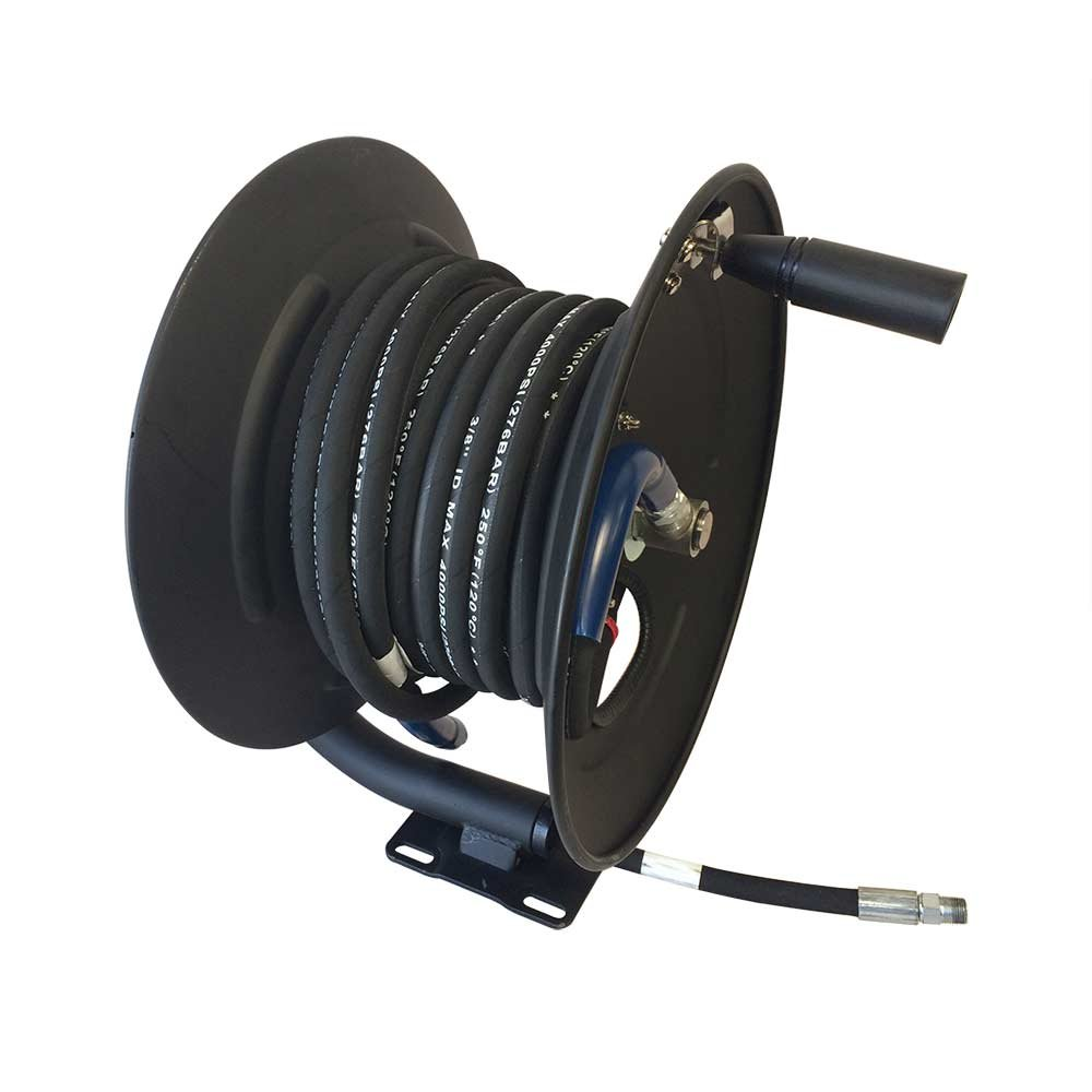 Interstate Pneumatics PW7190 3/8'' x 100 Feet Steel Hose Reel with Swivel Fitting, Mounting Bracket and 3 Feet Pigtail 4000 PSI