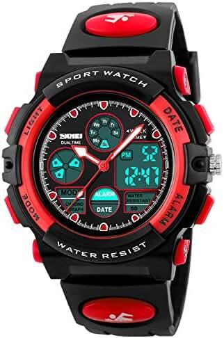 Kid Watch 50M Waterproof Sport LED Alarm Stopwatch Digital Child Quartz Wristwatch for Boy Girl Red