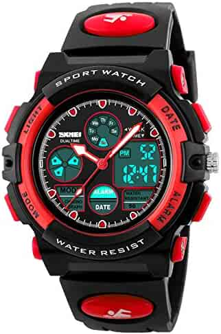 Kid Watch 50M Waterproof Sport LED Alarm Stopwatch Digital Child Quartz Wristwatch for Boy Girl Red