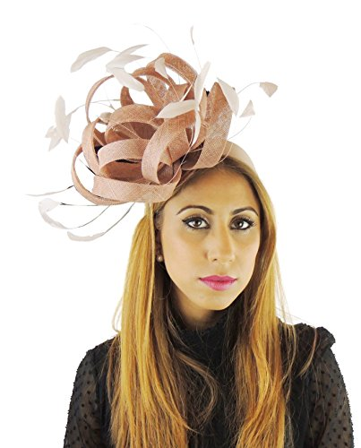 Hats By Cressida Ladies Wedding Races Ascot Derby Fascinator Headband Beige by Hats By Cressida