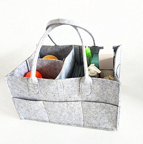 DODXIAOBEUL 13X7.25 Inch Folding Storage and Organization Felt Basket Can Hang Removable Inner Partition,Portable Kids Diaper Bag,Baby Wet, Cosmetics, Toys, Storage Baskets Double ()