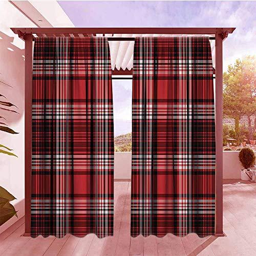 DGGO Curtains Rod Pocket Two Panels Red and Black Ancient British Skirt Cloth Print Squares Abstract Bold Lines Art Print Set of 2 Panels W84x108L White and Ruby