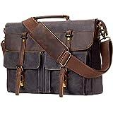 emissary Laptop Messenger Bag (15.6'' Laptop Bag) | Canvas and Leather Shoulder Briefcase |15.6'' Satchel and Computer Bag