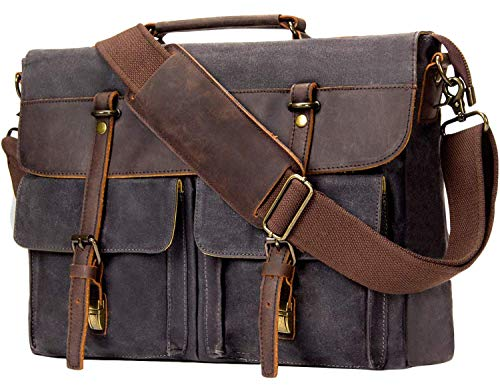 Emissary Messenger Bag |15.6'' Laptop Bag | Waterproof Waxed, Grey, Size 15.6