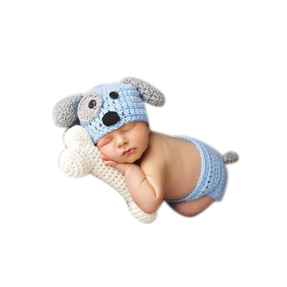 Newborn Baby Photography Photo Props Boy Girl Costume Outfits Green Doggy Set (Blue) by Binlunnu