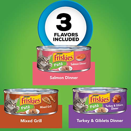 Purina Friskies Pate Wet Cat Food Variety Pack, Salmon, Turkey & Grilled - (2 Packs of 12) 5.5 oz. Cans