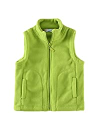 LittleSpring Toddler Boy' Fleece Vests Zipper Solid Green 3T