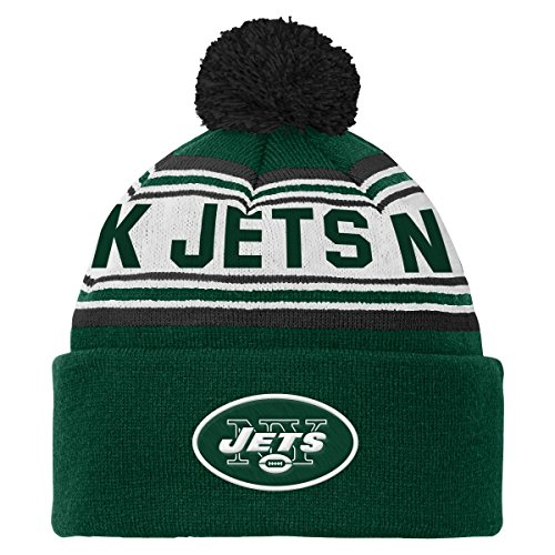OuterStuff NFL Youth 8-20 Cuffed Knit Pom Hat, New York Jets, One Size - New York Jets Knit Hat