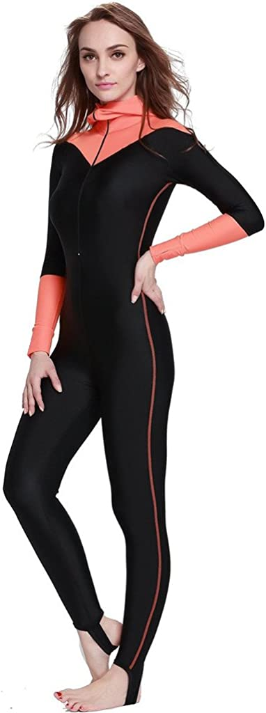 Micosuza Full Body Swimsuit Swim Suit Full Coverage Long Legs Long Sleeves for Women UV Sun Protection One Piece Rash Guard