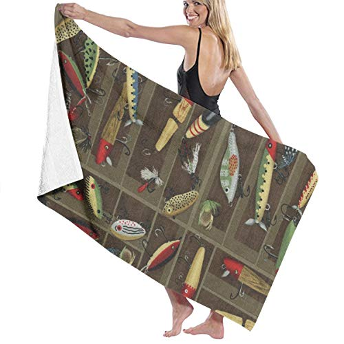PTYHR Microfiber Beach Towels Ultra Water Absorbing, Fast Dry, Towels, Vintage Fishing Lure Style Lightweight Bath Towels Multipurpose for Camping, Swim, Gym, Shower ()