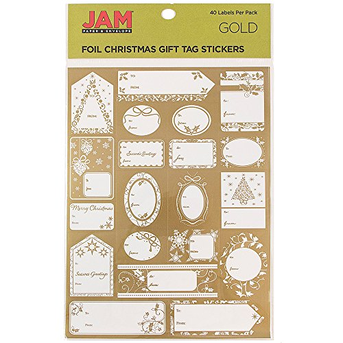 Christmas Sticker Gift Tags - JAM Paper Matte Foil Christmas Gift Tag Stickers - Gold - 40/pack