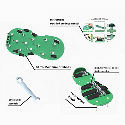 KOBWA Lawn Aerator Shoes, Spikes Aerator Sandals with 4 Adjustable Straps and Strong Zinc Alloy Buckles, Universal Size that Fits all – For a Greener and Healthier Garden or Yard. by KOBWA (Image #3)