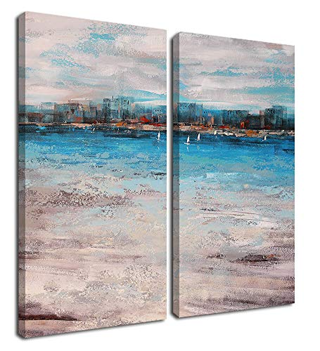 Canvas Wall Art Abstract Painting Cityscape by Sea Sailing Boat Modern Blue and Grey Artwork Picture Prints Framed Ready to Hang for Living Room Bedroom Kitchen Home Office Decor-2 Panels/Set