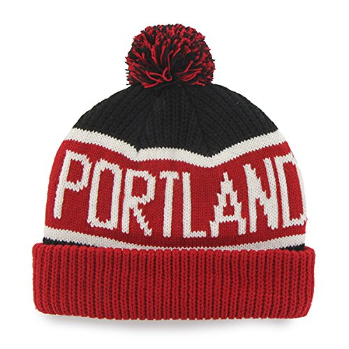 Portland Trailblazers Red Cuff ''Calgary'' Beanie Hat with Pom - NBA Cuffed Winter Knit Toque Cap