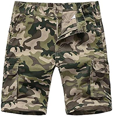Men Camouflage Printed Shorts Sports, Male Button-Pocket