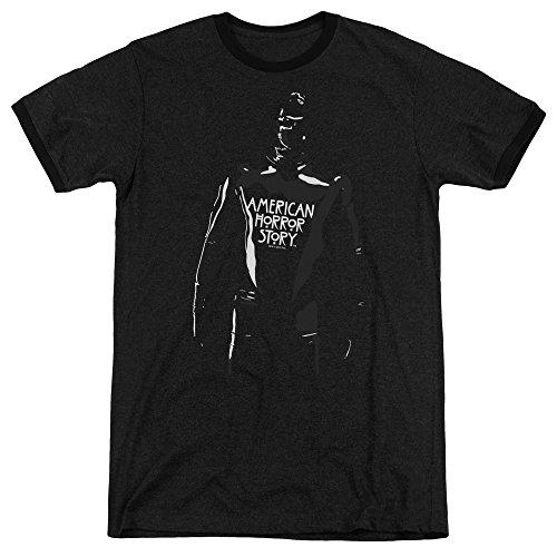 American Horror Story Rubber Man Mens Adult Heather Ringer Shirt Black -