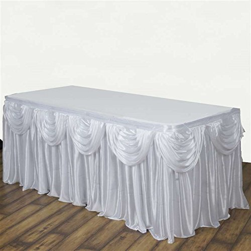 BalsaCircle 14 feet x 29-Inch White Satin Drape Banquet Table Skirt Linens Wedding Party Events Decorations Kitchen Dining Catering